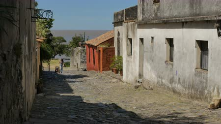 Small pedestrian street close to the Rio de la Plata in the historic center (at Unesco World Heritage site) of Colonia del Sacramento, Uruguay.