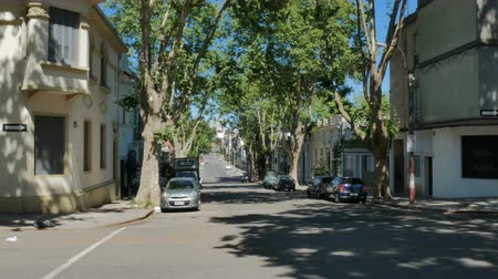 Quiet residential area in Montevideo, Uruguay, on December 10, 2017. Стоковые видеозаписи