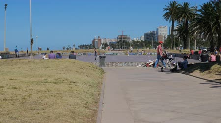 Skating area in Montevideo, Uruguay, on December 10, 2017. Стоковые видеозаписи