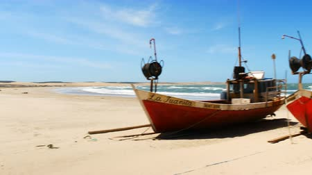 fishing village : Fishing boats on the beach in Cabo Polonio, Uruguay.
