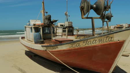 Old fishing boats on the beach in Cabo Polonio, Uruguay.