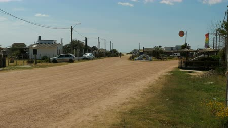 Center of the small village of Barra de Valizas, Uruguay. Стоковые видеозаписи