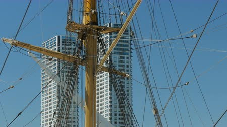 frigate : Detail of the mast of the ARA President Sarmiento, a museum ship docked in Puerto Madero, Buenos Aires.