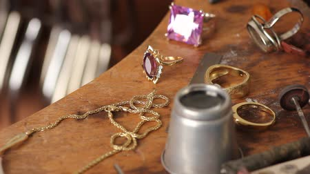 setting : the workbench of a goldsmith Stock Footage