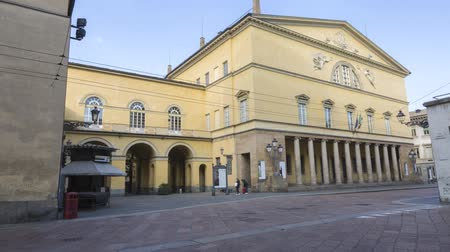 Royal Theater in Parma, Italy, on a Sunny Winter Day in Time lapse Стоковые видеозаписи