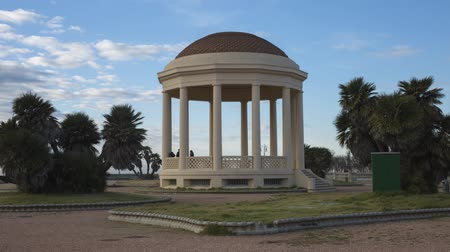 Time lapse of White Stone Gazebo in Livorno Near the Coastline, Tuscany - Italy.