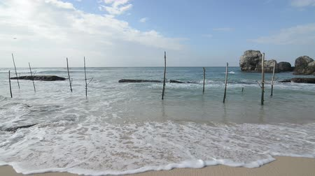 Wooden poles for fishing on a beach
