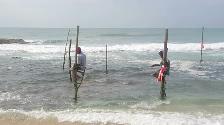Fishermen in Sri Lanka Stock Footage