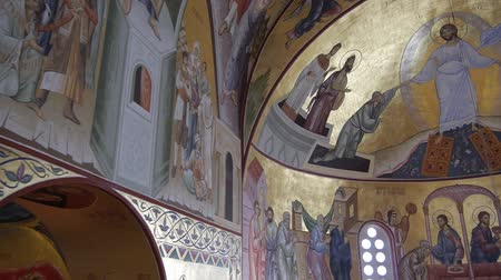 freska : flying in orthodox church in Montenegro beautifully painted with lot of fresques.