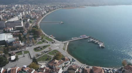 ohrid : Aerial view of Macedonian city Ohrid and beautiful lake.
