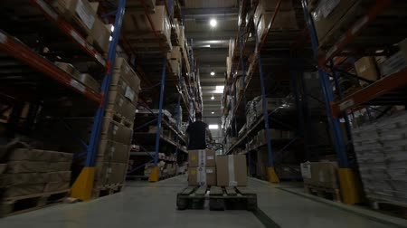 áruk : workers sorting  goods in the big distribution warehouse