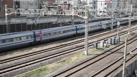 rapid transit : Trains passing on Rails, in Seoul City, South Korea.