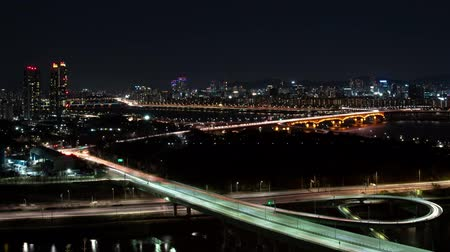 seoul : The night view of Seoul. Time lapse expressway top view.