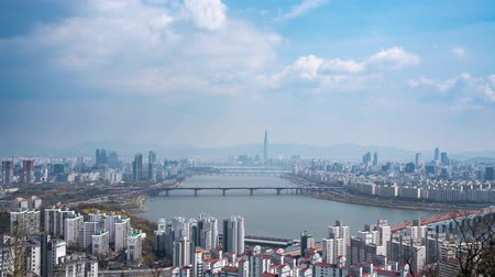 4K,Time lapse. The Han River Scenic Area in Seoul, the capital of South Korea. Stok Video