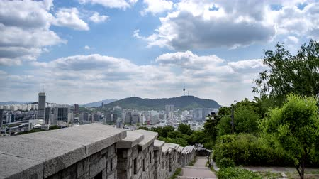4k time lapse. Cloud-moving of Seoul downtown cityscape and Namsan Seoul Tower. Seoul, South Korea