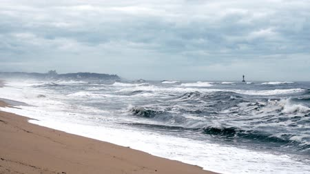 A seashore scene in which high waves come with cloudy weather and strong winds. South Korea Donghae the sea. Vídeos