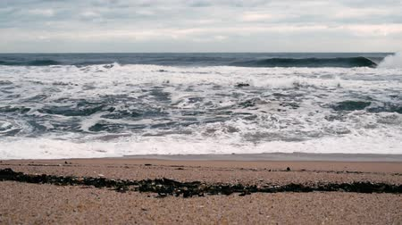 A seashore scene in which high waves come with cloudy weather and strong winds. South Korea Donghae the sea. Stok Video