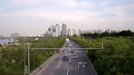 Traffic at Seoul City, South Korea. Stok Video