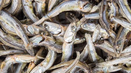 Dried anchovies used in Korean cuisine. Zoom out Stok Video