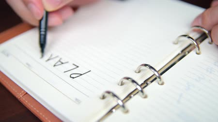 Close-up of a businessmans hand writing plan and list in the diary. Stok Video
