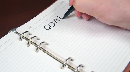 Close-up of a businessmans hand writing goals and list in the diary.