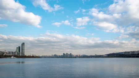 4K, Time lapse. The Han River Scenic Area in Seoul, the capital of South Korea. Stok Video