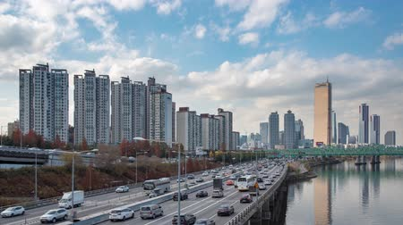 4K, Time lapse. The Han River Scenic Area in Seoul, the capital of South Korea. Filmati Stock