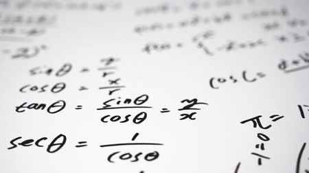 4K. Notes filled with mathematical formulas. Education concept. Vídeos