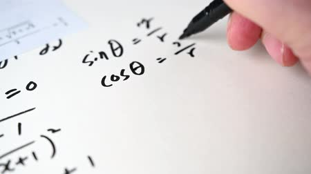 4K. Notes filled with mathematical formulas. Education concept. Stok Video