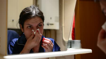 kaszel : Woman suffering from runny nose, reducing immunity with onset of cold snap Wideo