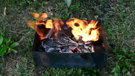 charcoal stove : Wood, paper and charcoal in metal brazier grill flaming, heating, glowing in bright red and orange colors before cooking barbecue on hot campfire, good as picnic background Stock Footage