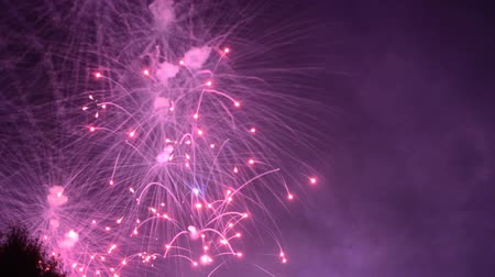 independência : beautiful fireworks show in the night sky Stock Footage