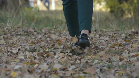 wrzesień : Young woman walking in the autumn park. female feet closeup. girl walking on fallen leaves.