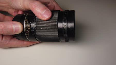 extreme close up : Dusty and dirty metallic photo lens. Stock Footage