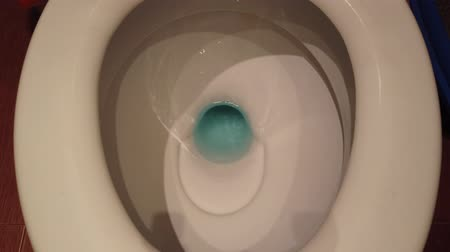 higiênico : White toilet with complete flushing sequence