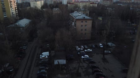 sektör : One of the districts of Moscow, sunset in spring evening