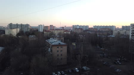 předměstí : One of the districts of Moscow, sunset in spring evening