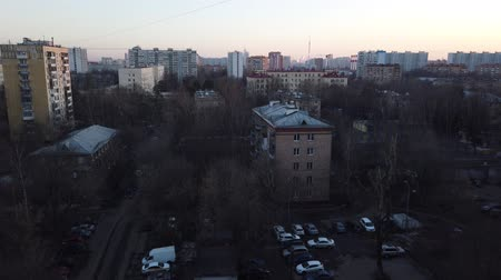 külvárosok : One of the districts of Moscow, sunset in spring evening