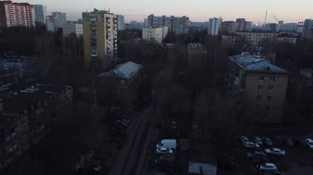 рост : One of the districts of Moscow, sunset in spring evening