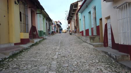 colonial : Cuban street, Trinidad, Cuba. Historic streets of Trinidad Stock Footage