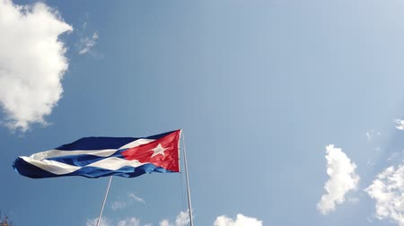 cubano : A Cuban Flag Waving In The Wind