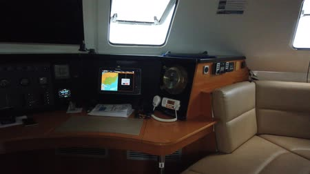 hız göstergesi : Interior of modern motorboats with seating and table
