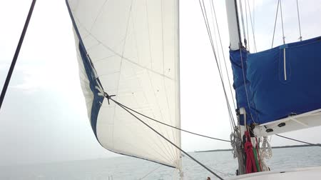 レガッタ : White sails fluttering during the sea journey. Yachting as an relaxation active lifestyle. 動画素材