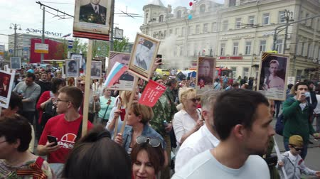 nationwide : RUSSIA, MOSCOW - MAY 9, 2019: Immortal Regiment - Procession Stock Footage