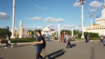 sovyet : MOSCOW - JULY, 2019: People in park of VDNKH. Exhibition of Achievements of national economy VDNKH - largest exhibition, museum and recreational complex in world.