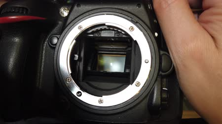 matriz : Matrix of the camera. The shutter of the camera is working Stock Footage