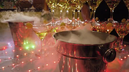 champagne flute : Cold smoke for champagne. Bucket for champagne. Bucket of smoke. Alcohol attribute. Champagne at the party. Festive alcohol. Corporate booze. Holiday Fun is in the company. Service Nitrogen.