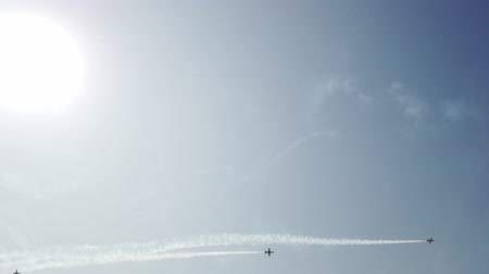 sea bird : Military fighters soars high into the sky. Bright sun. Cool footage.