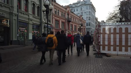 morning : 19 OCTOBER 2019, ARBAT STREET, MOSCOW, RUSSIA: People walking on street at Arbat district in Moscow, Russia. Stock Footage