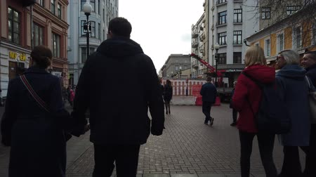 moscow panorama : 19 OCTOBER 2019, ARBAT STREET, MOSCOW, RUSSIA: People walking on street at Arbat district in Moscow, Russia. Stock Footage